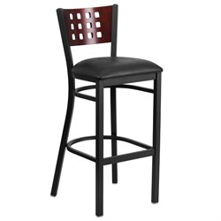 Metal Restaurant Bar Stool in Black and Mahogany