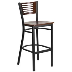 Metal Restaurant Bar Stool in Black and Walnut