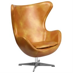 Leather Egg Chair in Gold