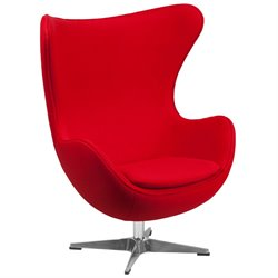 Wool Fabric Egg Chair in Red