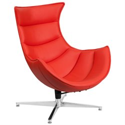 Leather Cocoon Chair in Red