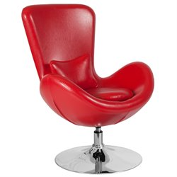 Leather Egg Chair in Red