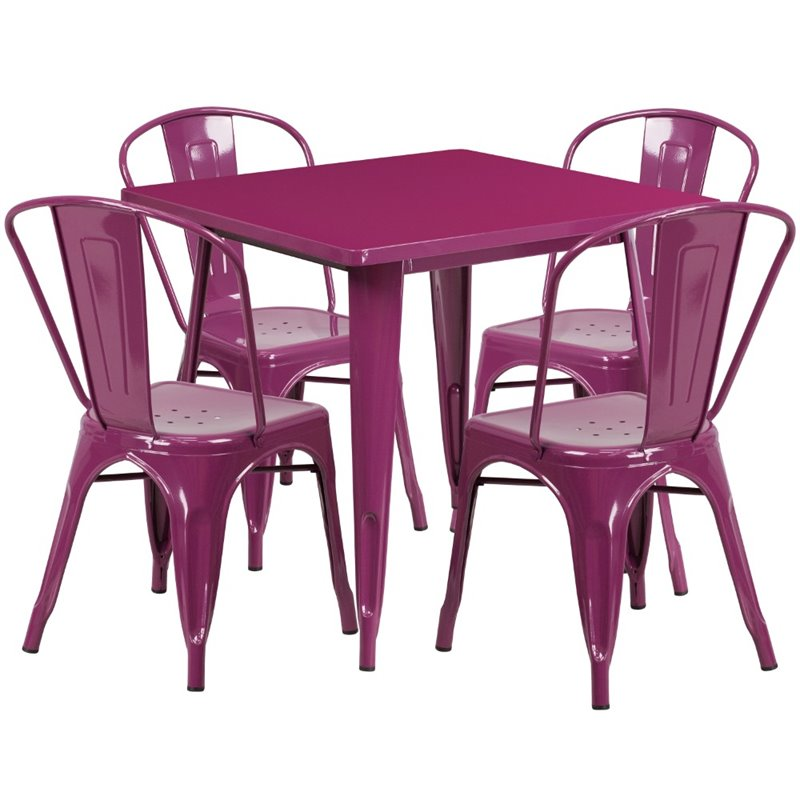 Incroyable Details About Flash Furniture 5 Piece Metal Patio Dining Set In Purple