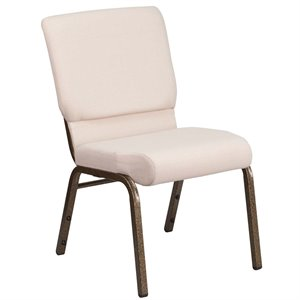 Fabric Church Chair in Beige and Goldvein
