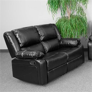 Leather Reclining Loveseat in Black