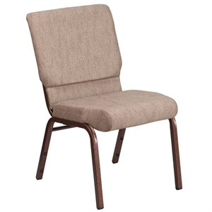 Fabric Church Chair in Beige and Coppervein