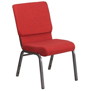 Fabric Church Chair in Red and Silvervein