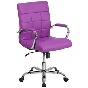 Mid Back Faux Leather Swivel Office Chair in Purple