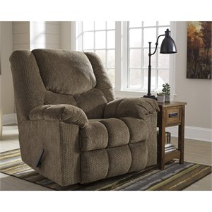 Flash Furniture Fabric Rocker Recliner in Brownstone