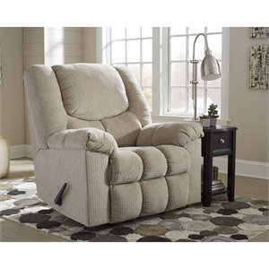 Flash Furniture Fabric Rocker Recliner in Putty