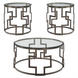 Flash Furniture Frostine 3 Piece Round Glass Top Coffee Table Set