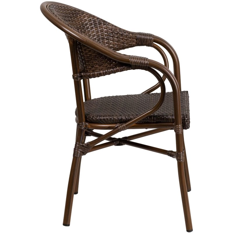 Flash Furniture Milano Rattan Patio Dining Arm Chair in Cafe Brown