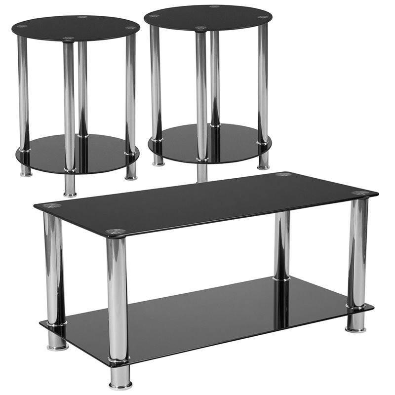 Flash Furniture Riverside 3 Piece Glass Top Coffee Table Set