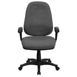 Flash Furniture High Back Computer Chair with Adjustable Arms in Gray