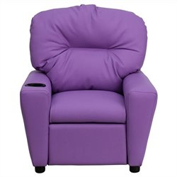 Flash Furniture Kids Recliner in Lavender with Cup Holder