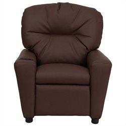 Flash Furniture Contemporary Kids Recliner in Brown with Cup Holder