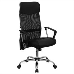 High Back Split Office Chair in Black with Mesh Back