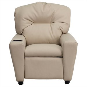 Contemporary Kids Recliner in Beige with Cup Holder