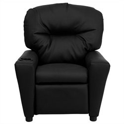 Flash Furniture Contemporary Kids Recliner in Black with Cup Holder