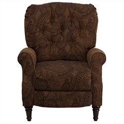 Traditional Tufted Leg Recliner in Tobacco