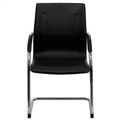 Side Guest Chair in Black with Chrome Sled Base