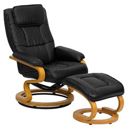 Recliner and Ottoman in Black with Swiveling Base
