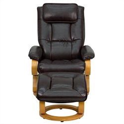 Flash Furniture Contemporary Recliner and Ottoman in Brown