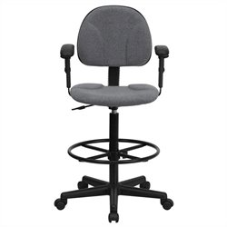 Flash Furniture Patterned Ergonomic Drafting Stool in Gray with Arms