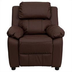 Flash Furniture Contemporary Kids Recliner in Brown