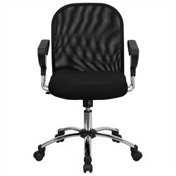 Flash Furniture Mid Back Mesh Office Chair in Black with Chrome Base