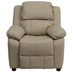 Kids Recliner in Beige with Storage Arms