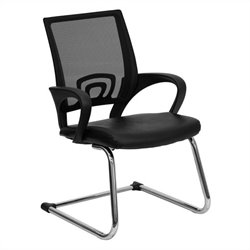 Office Side Guest Chair in Black with Mesh Back