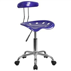 Flash Furniture Vibrant Computer Task Chair in Deep Blue and Chrome