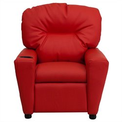 Contemporary Kids Recliner in Red with Cup Holder