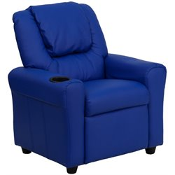 Kids Faux Leather Recliner in Blue