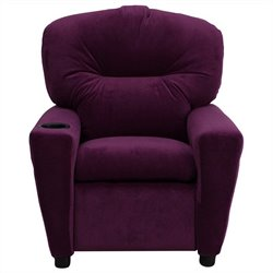 Flash Furniture Kids Recliner in Purple with Cup Holder