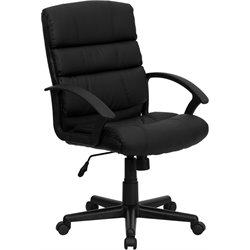 Flash Furniture Mid-Back Leather Office Chair in Black