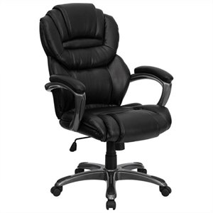 High Back Office Chair with Leather Padded Loop Arms