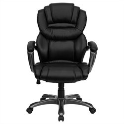 Flash Furniture High Back Office Chair with Leather Padded Loop Arms