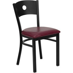 Flash Furniture Hercules Series Circle Back Metal Chair in Burgundy