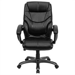 High Back Overstuffed Executive Office Chair in Black
