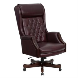 High Back Traditional Tufted Office Chair in Burgundy