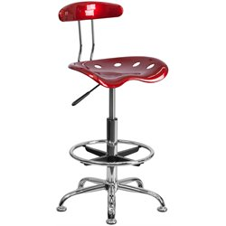 Flash Furniture Vibrant Drafting Stool Seat in Wine Red and Chrome