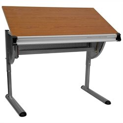 Adjustable Drawing and Drafting Table in Pewter