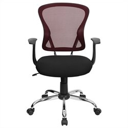 Flash Furniture Mid Back Mesh Office Chair with Black Fabric Seat