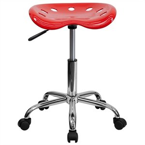 Chrome Adjustable Bar Stool in Red