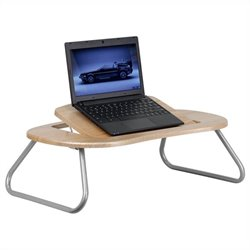 Angle Computer Table with Dark Natural Top