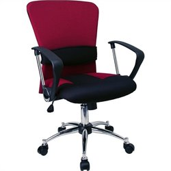 Flash Furniture Mid-Back Mesh Office Chair in Burgundy