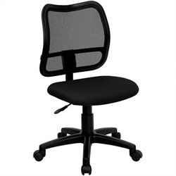 Flash Furniture Mid Back Mesh Task Chair with Black Fabric Seat