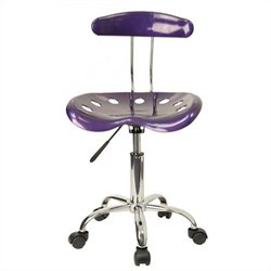 Flash Furniture Vibrant Computer Task Chair Seat in Violet and Chrome